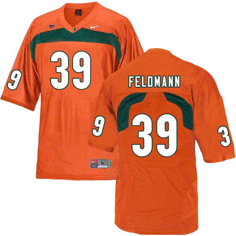 Nike Miami Hurricanes #39 Gannon Feldmann College Football Jerseys Sale-Orange